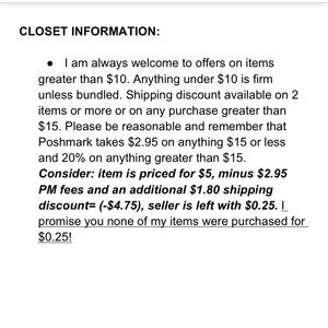 🌺 CLOSET INFORMATION: Please Read 🌺